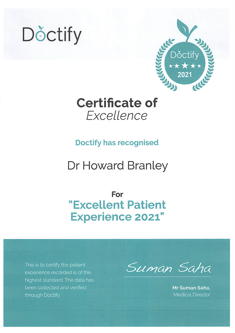 Doctify Certificate of Excellence 2021